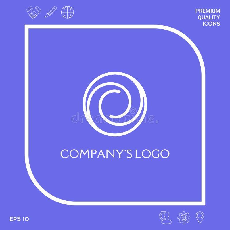 Logotyp - dwa spirali w okręgu - kwiatu pączek, kamery apertura - symbol interakcja, nowi pomysły, rozwój royalty ilustracja
