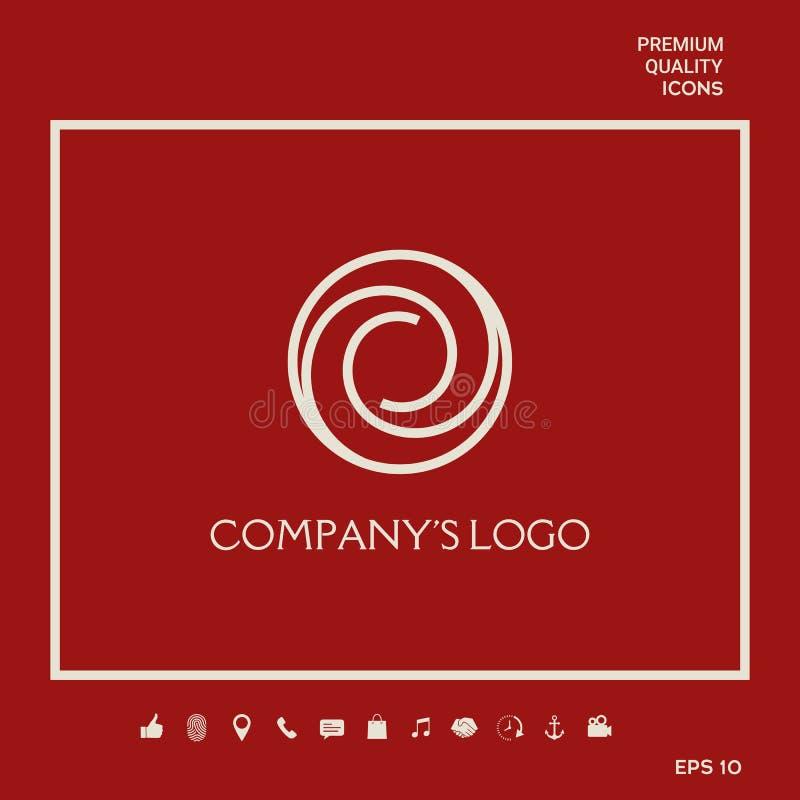 Logotyp - dwa spirali w okręgu - kwiatu pączek, kamery apertura - symbol interakcja, nowi pomysły, rozwój ilustracja wektor