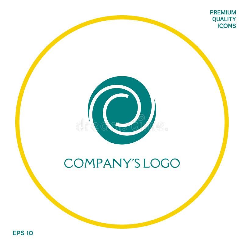Logotyp - dwa spirali w okręgu - kwiatu pączek, kamery apertura - symbol interakcja, przyrost, rozwój ilustracji