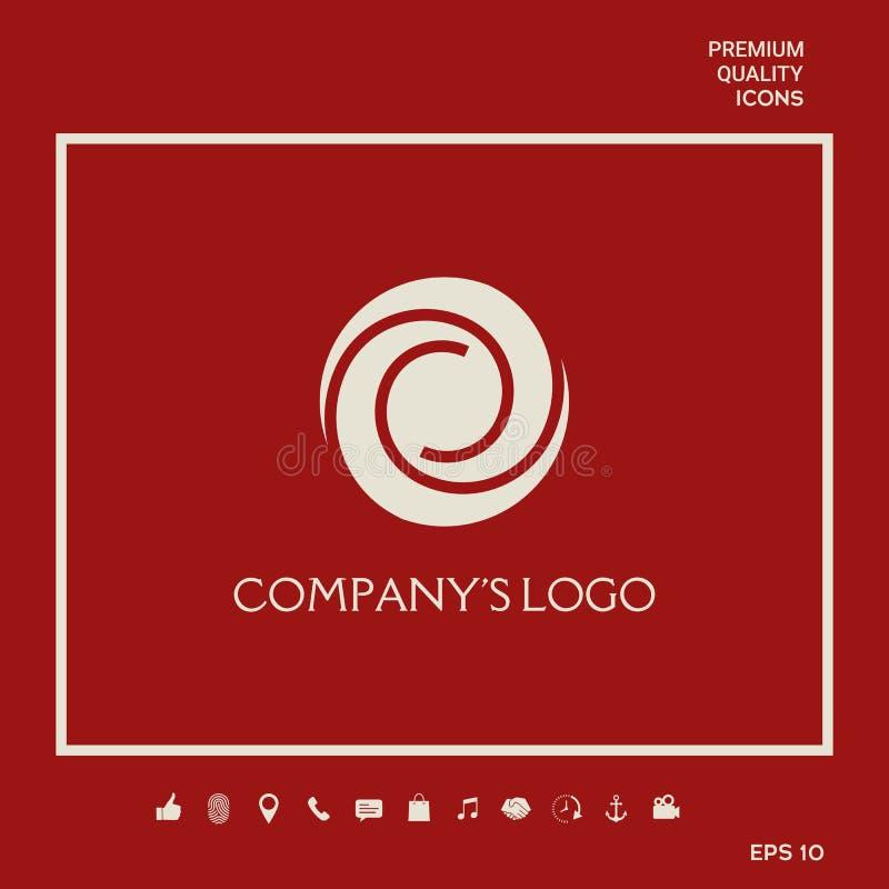 Logotyp - dwa spirali w okręgu - kwiatu pączek, kamery apertura - symbol interakcja, przyrost, rozwój ilustracja wektor