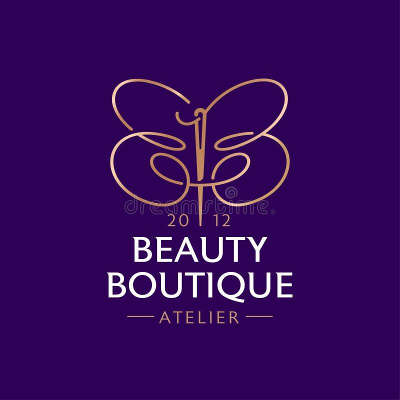 Logotyp för Beauty Boutique Dubbel B som en fjäril med nål och tråd Atelier emblem vektor illustrationer