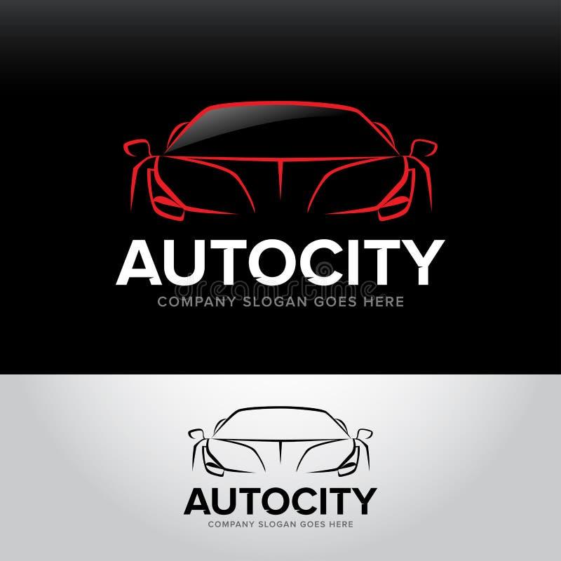 Logotyp för bil för `-Autocity ` - bilservice och reparation, uppsättning Billogo Isolerad auto temalogo vektor illustrationer