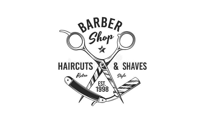 Logotyp för butiker Saxare och Barber razor Logotyp för Barber-affär, frisyr-salon, typografi Vintagedesign V stock illustrationer