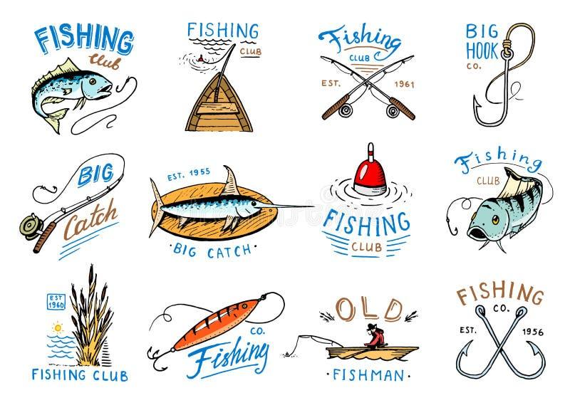 Logotyp för fiskeri för fiskelogovektor med fiskaren i fartyg och emblem med den catched fisken på fishingrodillustrationuppsättn royaltyfri illustrationer