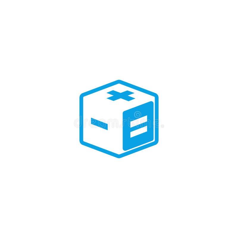 Logotyp för idérik app för matematik för räknemaskinlogo isometrisk, geometrisk form för kub 3d med matematiskt tecken plus, nega stock illustrationer