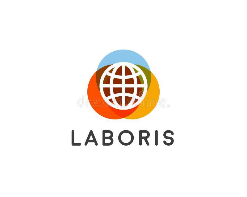 Logotyp för jordklotvektorjord Globalt idérikt tecken Logo för planetsymbolsymbol royaltyfri illustrationer