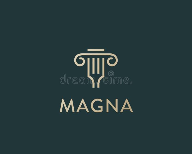 Logotyp för kolonngaffelidé För vektorlogo för klassisk restaurang italiensk design Idérik linje symbol för leveranssnabbmatpizza royaltyfri illustrationer