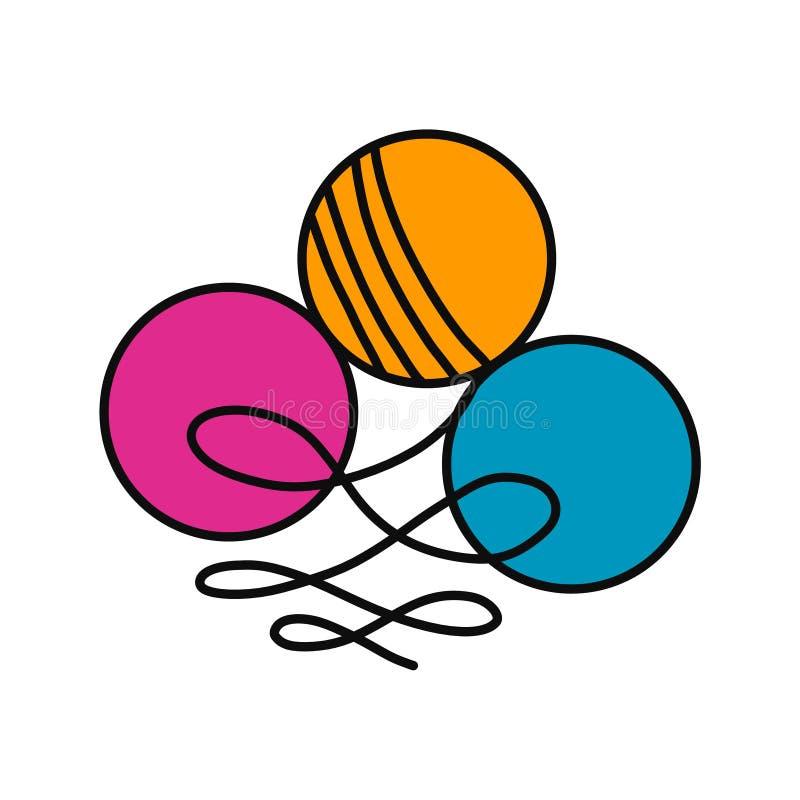 Logotyp för logo för garnnystanullhand utdragen för yarning undervisning för studie för tutorials för projektkursmästarklasser av vektor illustrationer
