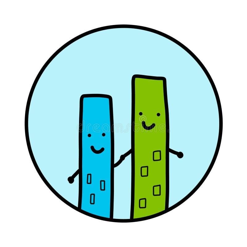Logotyp för logo för illustration för hög hand för två skyskrapabyggnader utdragen stock illustrationer