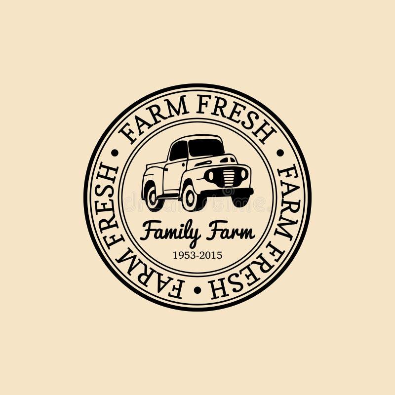 Logotyp för retro lantgård för vektor ny Organisk högvärdig logo för kvalitets- produkter Eco mattecken Handen skissade pickupsym vektor illustrationer