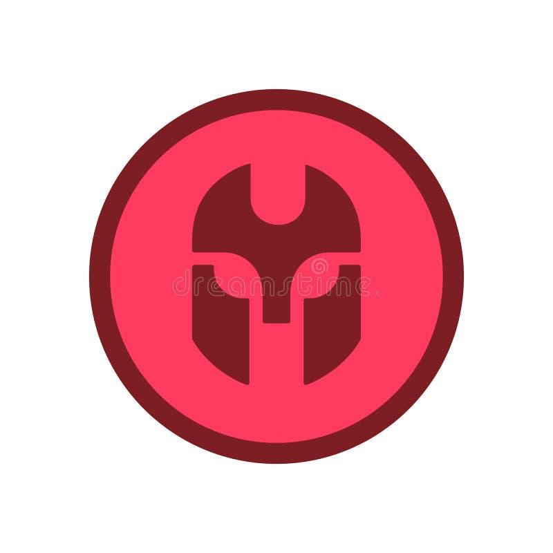 Logotyp för riddare eller krigare, ikon för röd cirkel - Vector royaltyfri illustrationer