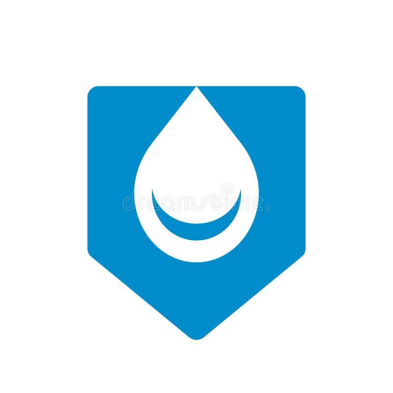Logotyp för vattensläpp och sköld, enkel symboldesign för droplets - Vector stock illustrationer