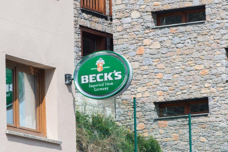 Logotyp och tecken på Beck' öl royaltyfri foto