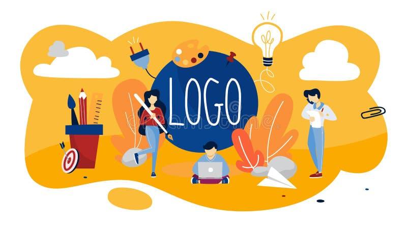 Logotypbegreppsillustration Unikt märke av företaget vektor illustrationer
