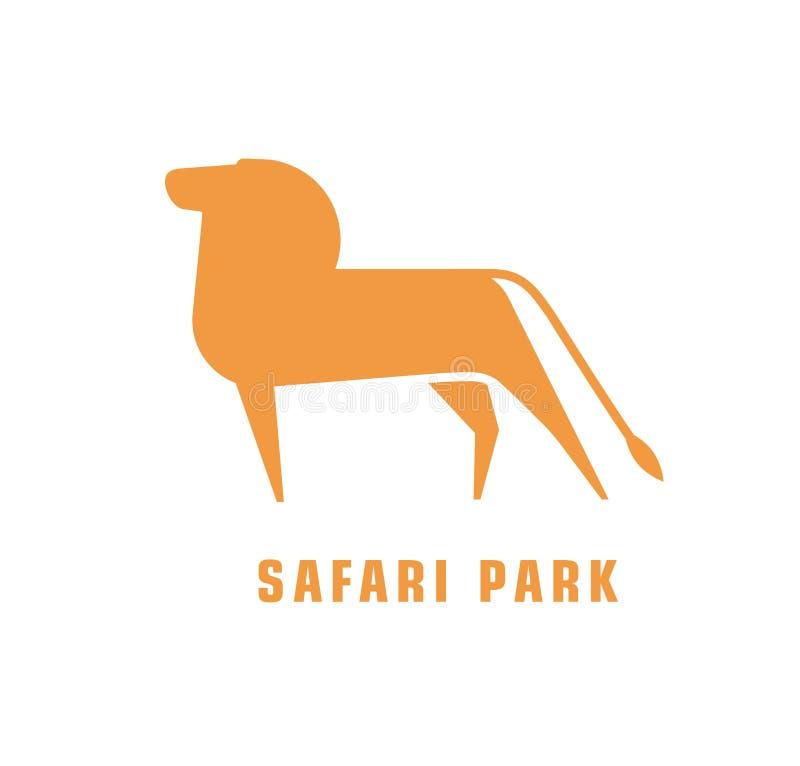 Logotype abstrait avec la silhouette du lion Logo pour le parc de safari avec l'animal carnivore africain Décoratif stylisé illustration de vecteur