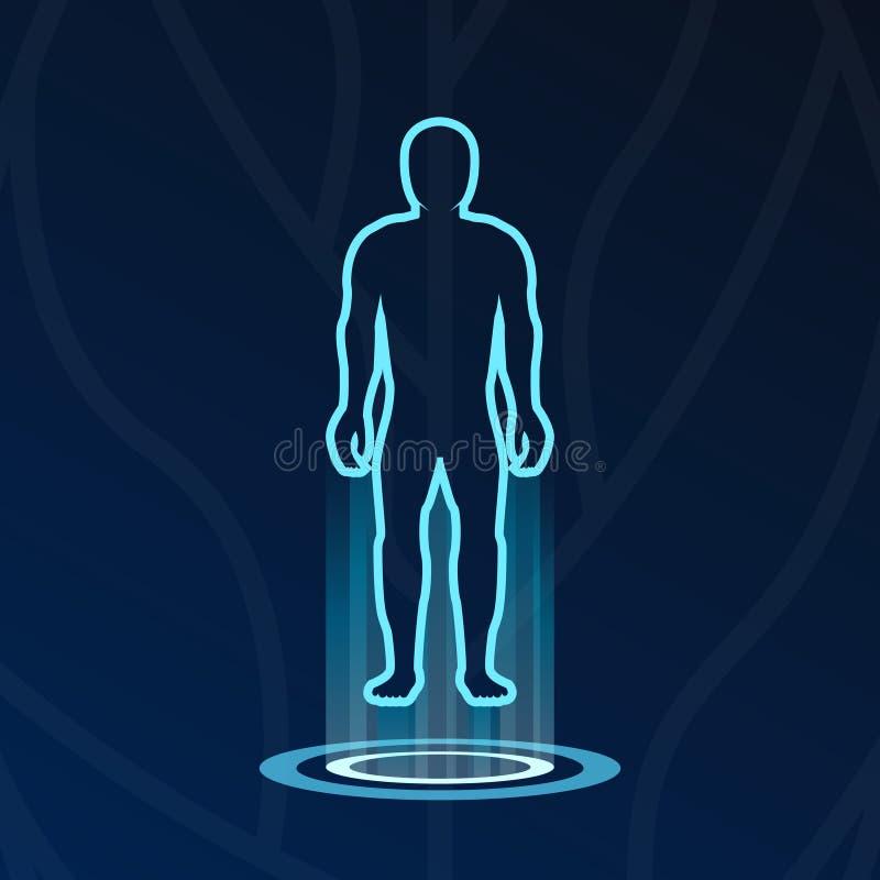 Logotype abstrait de lumières d'hologramme de corps illustration stock