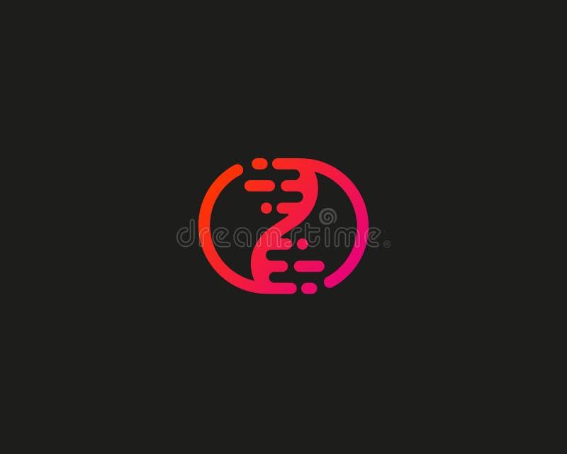 Logotype abstrato do ADN da biotecnologia Medicina, ciência, laboratório, ícone moderno do logotipo Símbolo do vetor de yang do y ilustração stock