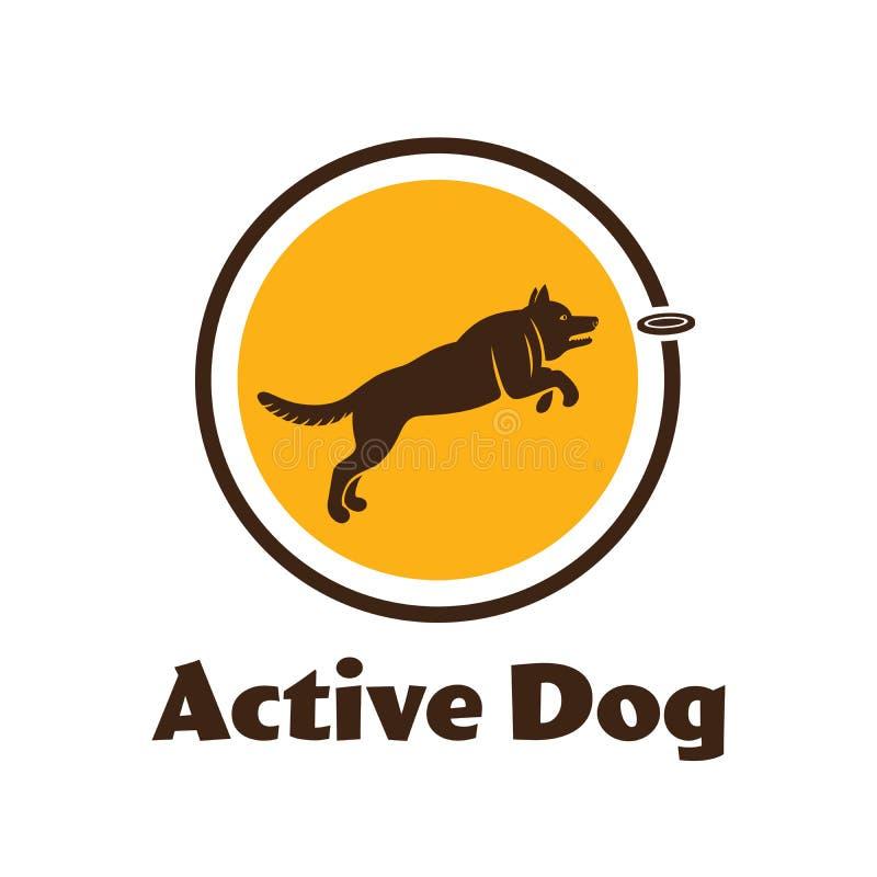 Logotype actif de chien Silhouette de chien sur le fond blanc Chien d'agilité pour votre conception illustration stock