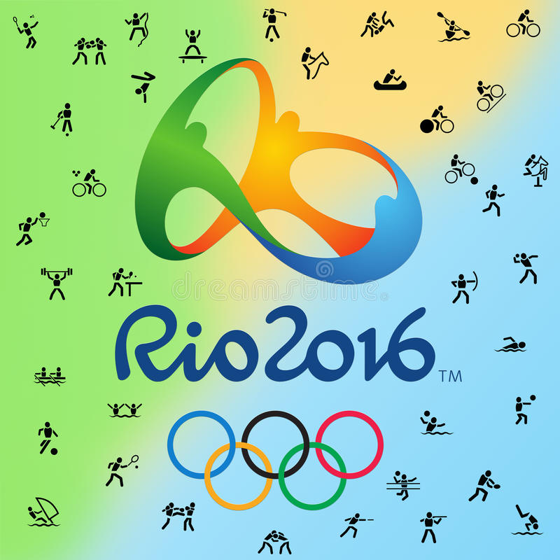 Logotype and all 38 disciplines in Olympic games in Rio, Brazil 2016 stock image