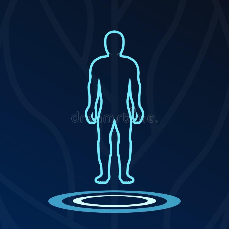 Logotype astratto delle luci dell'ologramma del corpo royalty illustrazione gratis