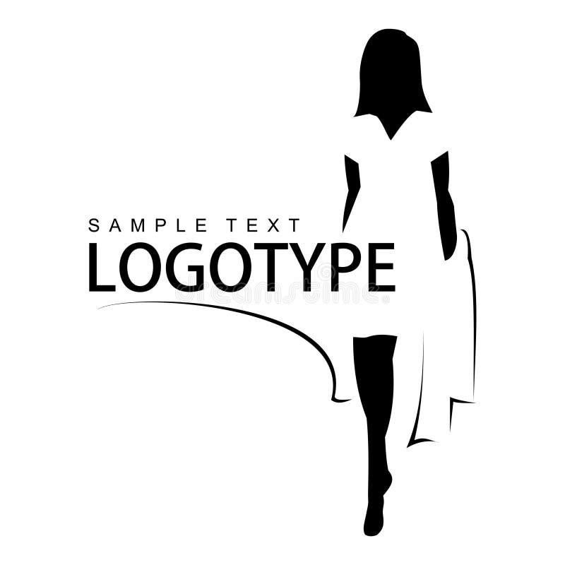 Logotype avec la silhouette d'une belle fille. illustration de vecteur