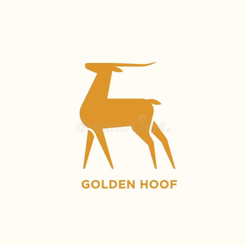 Logotype avec la silhouette de l'antilope ou de la gazelle Logo avec l'animal herbivore sauvage élégant Élément de conception d'i illustration de vecteur