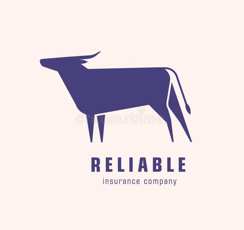 Logotype avec la silhouette du taureau ou du boeuf Logo avec l'animal herbivore bovin élégant ?l?ment de conception d'isolement s illustration libre de droits