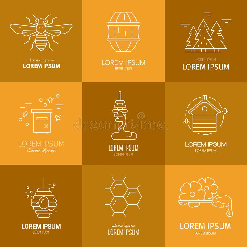 Logos with honey. Logotype collection with honey, honeycomb, honeybee, flowers, dipper with honey. Eco product label vector illustration
