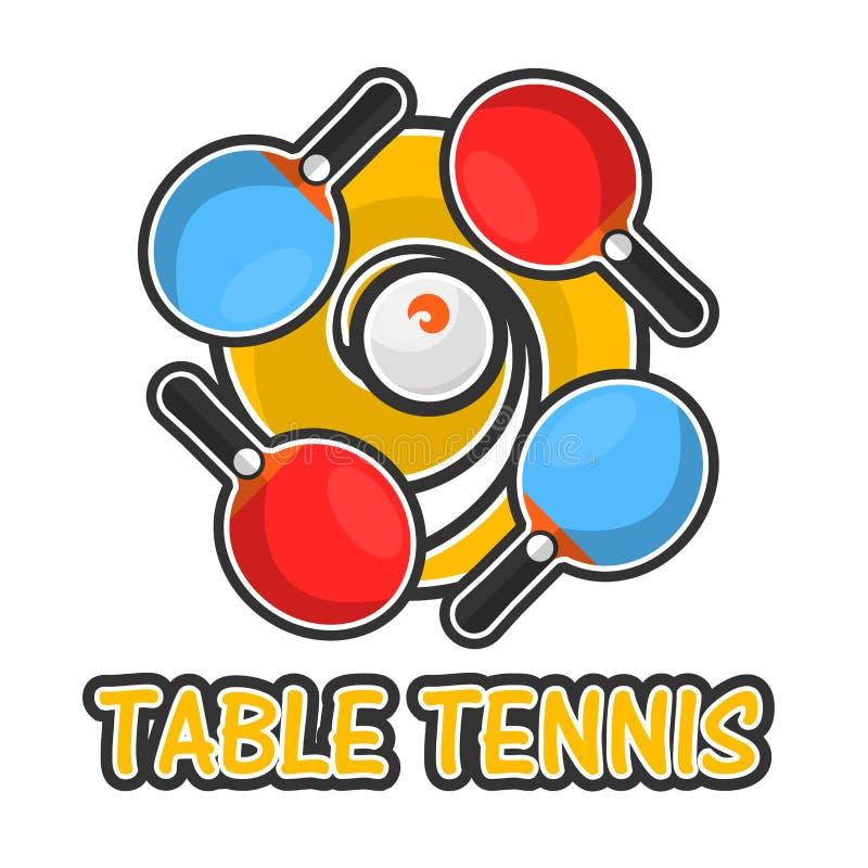 Logotype colorido do esporte do tênis de mesa isolado no branco ilustração royalty free