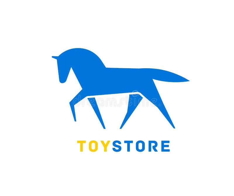 Logotype com a silhueta do cavalo ou do garanhão Logotipo com o animal doméstico elegante Elemento decorativo do projeto isolado  ilustração stock