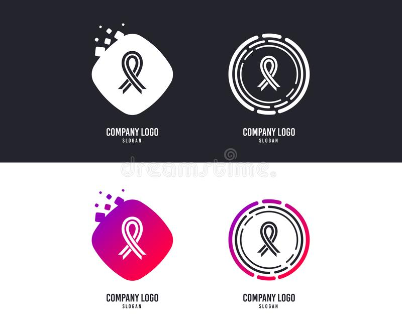 Ribbon sign icon. Breast cancer awareness symbol. Vector. Logotype concept. Ribbon sign icon. Breast cancer awareness symbol. Logo design. Colorful buttons with vector illustration