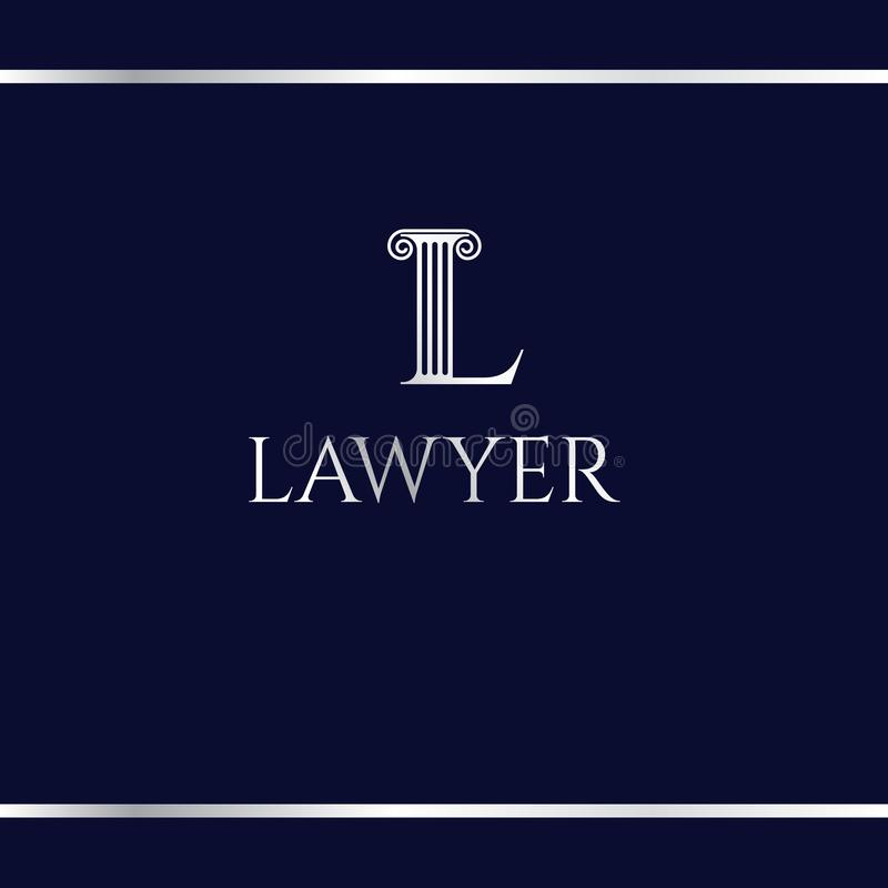 Logotype for court or law firm. Letter L. Silver logo on a dark blue background. L like an antique column. Logo design template royalty free illustration