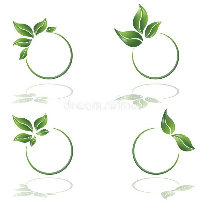 Logotype d'Eco, feuilles et cercle v illustration stock