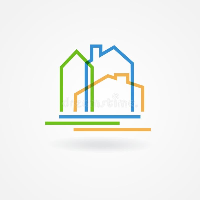 Logotype da empresa de bens imobiliários Molde do projeto do logotipo do vetor Ícone abstrato do conceito das casas ilustração stock