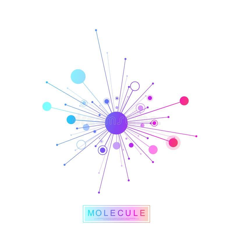 Logotype da gen?tica da ci?ncia do ?cone do molde do logotipo da mol?cula, h?lice do ADN Teste genético do ADN do código de Biote ilustração do vetor