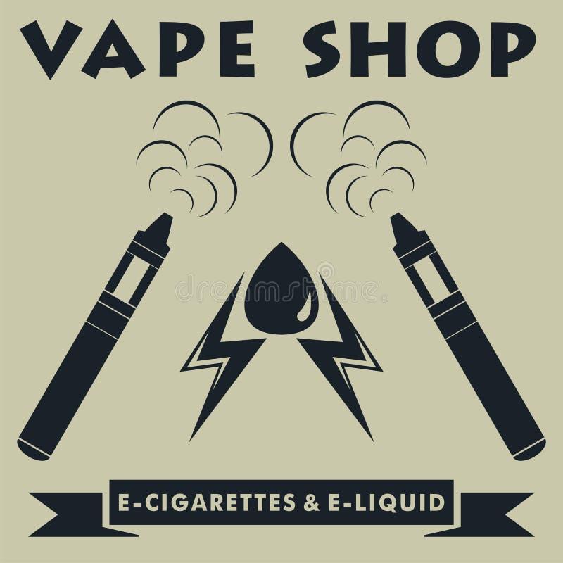 Logotype da loja de Vape Logotipo do e-cigarro de Vape Ilustra??o do vetor ilustração royalty free