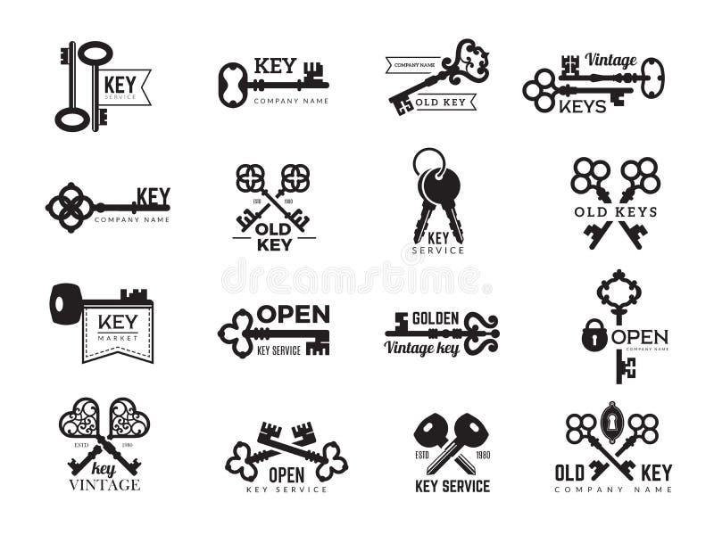 Logotype das chaves Silhuetas dos símbolos do acesso da porta e da porta dos crachás dos bens imobiliários do vetor de aço orname ilustração royalty free