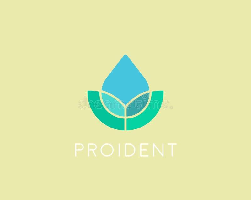 Logotype de baisse de l'eau d'Eco Logo de vecteur de fleur de station thermale de feuille illustration libre de droits