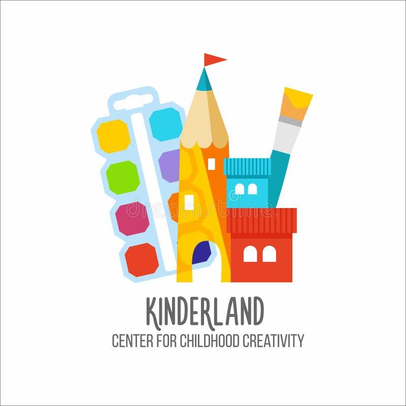 Logotype de centre du ` s d'enfants Logo pour l'aimable-jardin, club du ` s d'enfant photographie stock