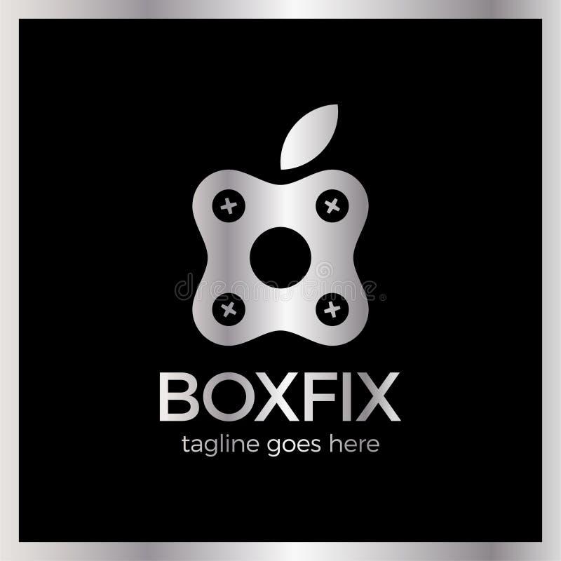 Logotype de difficulté de boîte d'Eco réparez le centre illustration libre de droits
