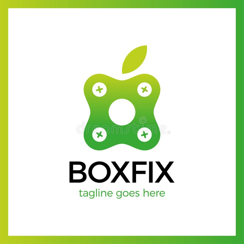 Logotype de difficulté de boîte d'Eco réparez le centre illustration de vecteur