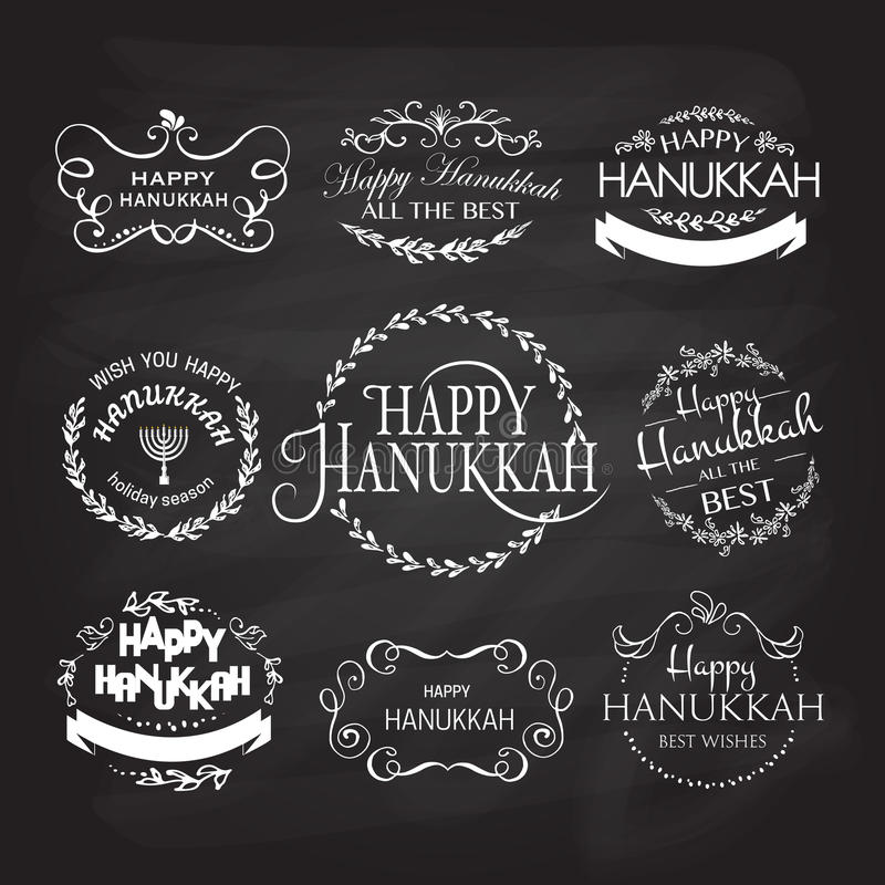 Logotype de Hanoucca, insigne et ensemble heureux de typographie d'icône illustration libre de droits