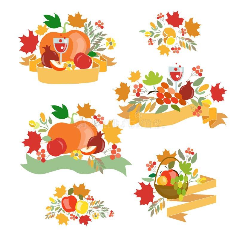 Logotype de jour de thanksgiving, insigne et ensemble heureux d'icône illustration libre de droits