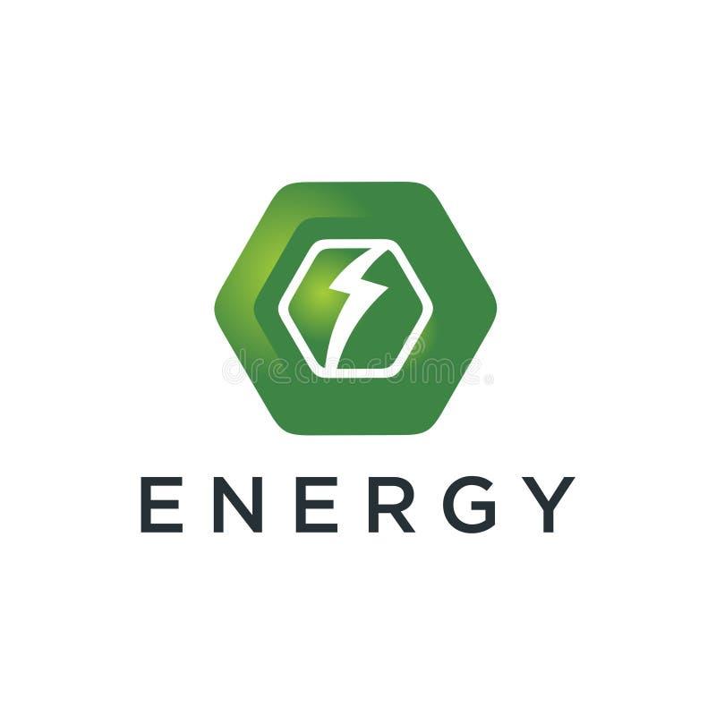 Logotype de polygone avec le logo de tonnerre, la puissance, rapide électriques, éclairage, et énergie illustration de vecteur