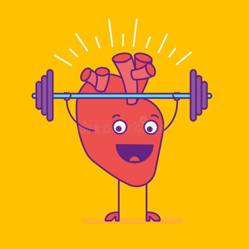Logotype de sorriso feliz do coração Logotipo alegre do personagem de banda desenhada dentro ilustração do vetor