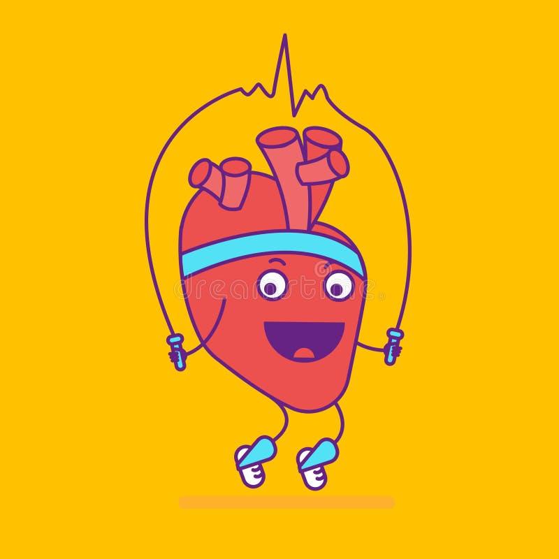 Logotype de sorriso feliz do coração Logotipo alegre do personagem de banda desenhada dentro ilustração royalty free