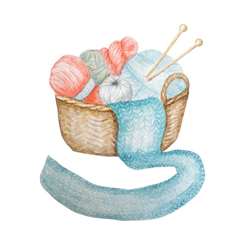 Logotype de tricotage de magasin, stigmatisant, avatar - aiguilles, fils, bouton Pour tricotez les métiers, logo de passe-temps I illustration stock