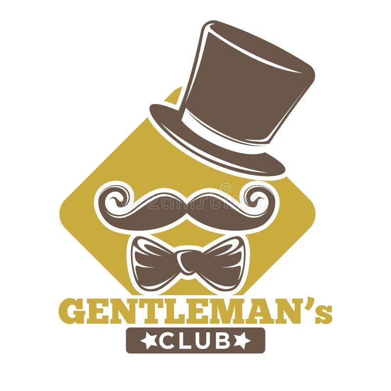 Logotype del club di Gentlemans con il cappello, la cravatta a farfalla ed i baffi royalty illustrazione gratis