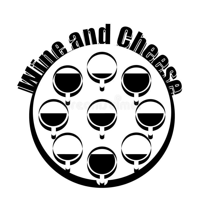 Logotype del formaggio e del vino Progettazione in bianco e nero illustrazione di stock