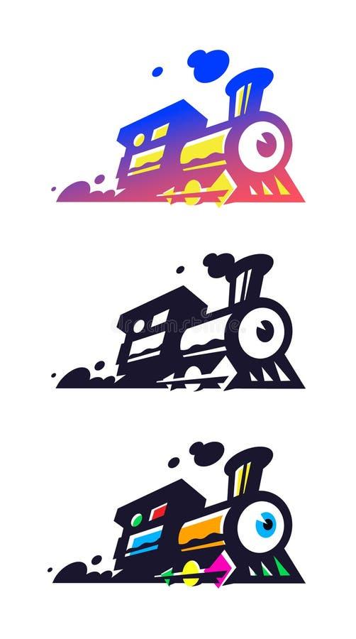 Logotype del treno, locomotiva Icona piana di vettore Immagine di Minimalistic su un fondo isolato bianco Segno surrealista, embl illustrazione di stock